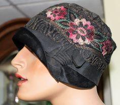 VINTAGE Genuine 1920s Metallic Thread HAT ORIGINAL FRENCH  FLAPPERS CLOCHE CAP  #Cloche