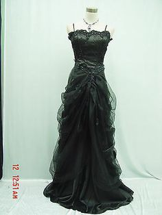 CHERLONE Satin Black Lace Long Wedding Evening Ball Gown Formal Bridesmaid Dress | eBay