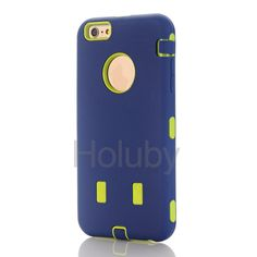Detachable 3 in 1 Silicone + PC Hard Protective Case for iPhone 6 Plus/ 6S Plus - Dark Blue + Green