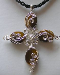 Golden Tigers Eye ... Cross ... Silver Wire by jjdesigns0489, $65.00