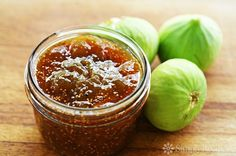 Fig jam made with figs, orange, lemon, ginger, cloves, and cinnamon.  Easy to make in the microwave. ~ SimplyRecipes.com