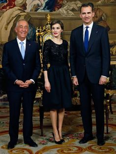 King Felipe VI of Spain and Queen Letizia of Spain receive Portugals President Marcelo Rebelo de Sousa before a gala dinner held at the Royal Palace in Madrid, Spain on March 17, 2016