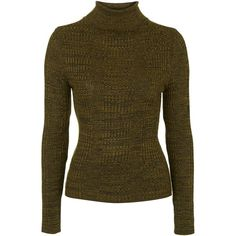 TOPSHOP Ribbed Roll Neck Jumper ($48) ❤ liked on Polyvore featuring tops, sweaters, khaki, brown tops, snug top, khaki jumper, topshop tops ve khaki sweater