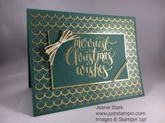 Stampin Up Watercolor Christmas card idea with Fabulous Foil Acetate - Jeanie Stark StampinUp Christmas Cards 2017, Create Christmas Cards, Homemade Christmas Cards, Stampin Up Christmas, Xmas Cards, Homemade Cards, Christmas 2019, Cards Diy, Christmas Greetings