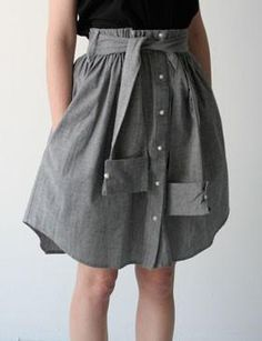 DIY MEN SHIRT REFASHION : DIY Father's Day Dress Shirt Skirt