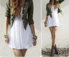 Green jacket, white dress, black combat boots and accessories.