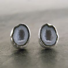 Lavender Geode Studs in Sterling Silver by anatomi on Etsy, $128.00