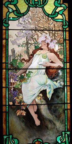 "Mucha ""Autumn"" stained glass window"