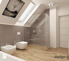 Aranżacje wnętrz - Łazienka: DOM W LESZNOWOLI - Średnia łazienka na poddaszu w domu jednorodzinnym z oknem, styl nowoczesny - design me too. Przeglądaj, dodawaj i zapisuj najlepsze zdjęcia, pomysły i inspiracje designerskie. W bazie mamy już prawie milion fotografii!