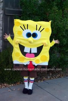 Handmade Spongebob Costume: I created this original handmade Spongebob costume, at the request of my 8 year old, who wanted to look just like the real Spongebob.  The costumes available