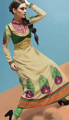 Get Indian Beautiful Cream Georgette #ChuridarKameez #AnarkaliDresses Product code: KPW-37622 Price: INR4105 (Unstitch Suit), Color: Cream Shop Online now: http://www.efello.co/Salwar-Kameez_Indian-Beautiful-Cream-Georgette-Churidar-Kameez-Anarkali-Dresses,-Dress_36253