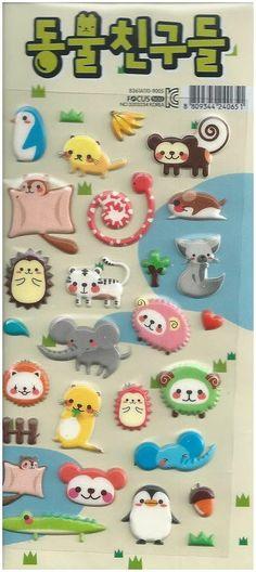 Animal Stickers (1) creative cute new mini sheet adhesive scrapbooking Korea