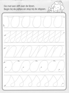 Trace the Dotted Lines Worksheets for Kids - Preschool and Kindergarten Preschool Writing, Preschool Worksheets, Writing Activities, Preschool Activities, Pre Writing, Writing Skills, Teaching Cursive, Handwriting Practice, Handwriting Worksheets For Kids