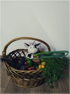 Basket full of vegetable and fruit. 🍏🍇🍅 (Suitable for motivation. Theme: Vegetables & Fruit)
