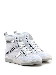 LOVE MOSCHINO - Sneakers - Donna - Sneaker in glitter con inserti laminati e suola in gomma. Tacco 30. - BIANCO\ARGENTO - € 215.00