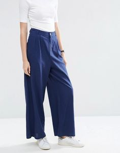 Image 4 ofASOS Textured Slouch Wide Leg Trousers