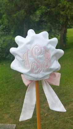 Monogrammed Baby Bonnet with button-on back by SewYouMonograms
