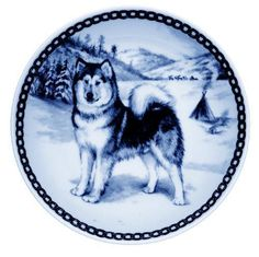 Dog Plates - Alaskan Malamute I Danish Blue Porcelain Collectors Dog Plate Canine Plates Gifts Giftware