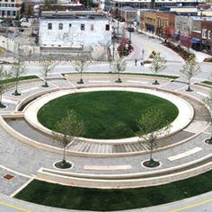 In Uptown Normal, Illinois, Hoerr Schaudt Landscape Architects completed work on The Circle, a multi-functional, sustainable roundabout that cleanses and re-circulates stormwater into a public foun… Modern Landscaping, Garden Landscaping, Urban Landscape, Landscape Design, Plaza Design, Public Square, Water Management, Urban Planning, Landscape Architecture