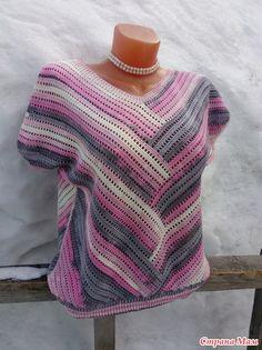 Modern Crochet Patterns, Shirt Blouses, Shirts, Crochet Top, Pullover, Tunic Tops, Shirt Dress, Knitting, Sweaters