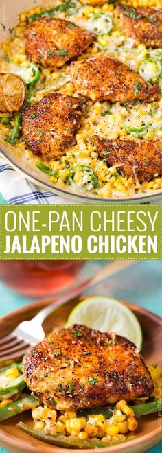 Pan Cheesy Jalapeño Chicken One Pan Cheesy Jalapeño Chicken - An easy weeknight meal, bursting with flavor, smothered in melty cheese, and on your table in 20 minutes!Table Table may refer to: Turkey Recipes, Mexican Food Recipes, Easy Weeknight Meals, Easy Meals, Quick Summer Meals, Food Dishes, Main Dishes, Cooking Recipes, Healthy Recipes