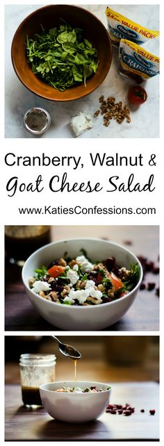#ad This cranberry, walnut & goat cheese salad is a healthy and easy way to get some greens in - add some grilled chicken for a light dinner.  #betterwithcraisins