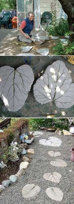 DIY Cement Leaf Steps in a Garden Path  (not a tutorial, but lots of outdoor inspiration pics)