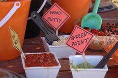 More cute food display ideas | #construction truck birthday party #construction theme
