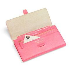 Classic Travel Wallet in Pink Lizard & Cream Suede - Aspinal of London - need one of these