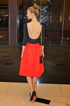 Sweets and Style Just Right: Red Midi Skirt + Christian Louboutins