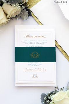 Eliana Velvet Emerald and Gold Wedding Invitation Set, Monogram Wedding Invitation Classy and Elegant Invitations