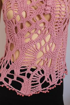 Dusty Pink Cotton  Freeform Crochet Tank  Top by levintovich, $98.00