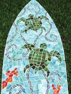 Beach Glass Projects | ... Glass Surfboard Mosaic On Wood Wall Art, Sea Turtle Beach, Surf, Ocean