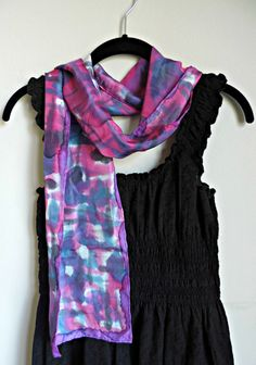Pink and purple, colorful hand-painted silk scarf!  | Fashion Accessory | DivineNY.com