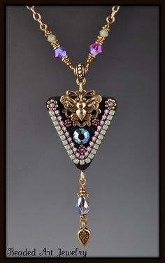 Butterfly Crystal Mosaic Necklace - Beaded Art Jewelry