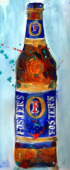 Foster's Beer Watercolor Print  Print Size  8.5  x. by dfrdesign