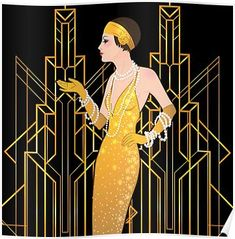 'Art deco lady, art deco era, flapper girl - Nativity Diy How to Make Moda Art Deco, Art Nouveau, Art Deco Bedroom, Estilo Art Deco, 1920s Art Deco, Art Deco Era, Art Deco Pattern, Art Deco Illustration, The Great Gatsby