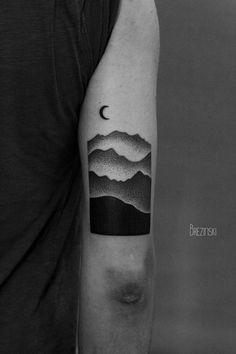 Tattoo • Mountains & Moon by Ilya Brezinski •