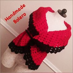 HP-1/23!Plus Size Handmade Bolero Plus size handmade bolero, crochet, black and red, fits sizes XL to 3X. I can also make any sizes. U can wear it with a belt(not included), I can also put a button on it or just as it is. Handmade Sweaters