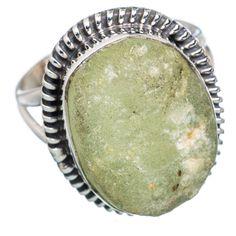 Rough Prehnite 925 Sterling Silver Ring Size 9 RING696855