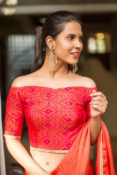 Pinkish red ikat raw silk off shoulder blouse #blouse #saree #houseofblouse #ikat #pochampally #silk  #offshoulder