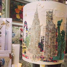New York New York  Hand drawn & embroidered lampshade by marna lunt
