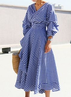 V Neck Lantern Sleeve Plaid Miid Irregular Dress