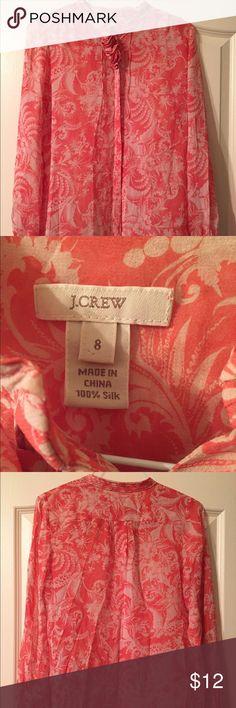👚 SALE 😘 J Crew Size 8 J.Crew Size 8 Ladies 100% Silk Shirt J. Crew Tops Blouses
