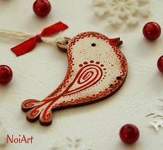 NoiArt / Vianočná ozdoba VTÁČIK vlnkovaný