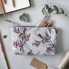 Linen makeup pouch or pencils case with handprinted double layers pattern. Textile Prints, Textile Design, Textiles, Makeup Pouch, Tree Patterns, Fern, Layers, Pencil, Wallet