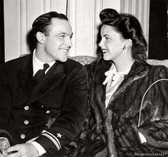 Gene Kelly and Judy Garland moments after they announced their engagement (ca. 1943).