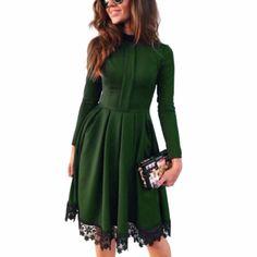 Winter Spring 2017 Fashion Women Long Sleeve Slim Maxi Dresses Party Pub Green Lace Dresses