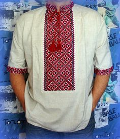 Vyshyvanka man Ukrainian embroidery gray linen shirt short sleeve Slavic folk XL #Handmade #Pesantdress