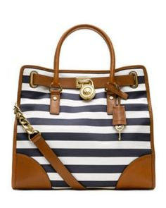 • michael kors • blue & white striped • hamilton tote •
